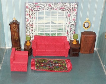 Strombecker dollhouse miniature furniture - Living Room Set - 1940s - with Lamps, Radio, Tobacco Rug, Grandfather Clock!