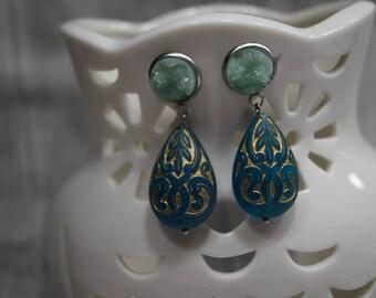 Earrings Oriental Green