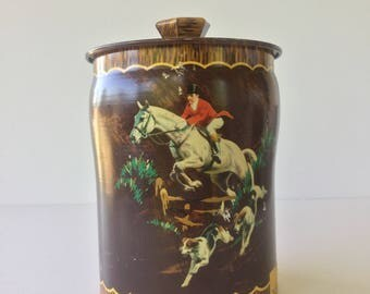 English Tin, Toffee Tin, Boy Blue,Toffee Tin, Midcentury tin, Horse Scene, Storage Tin, English Scene,Edwardian