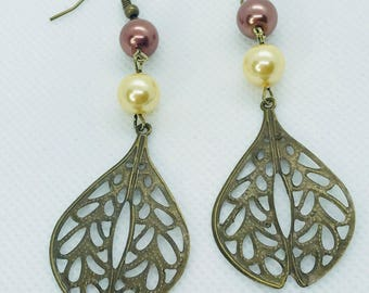 Antique Gold and Pearl Dangle Earrings