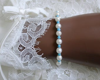 Saltwater Akoya pearls with turquoise faceted bracelet gold plated silver