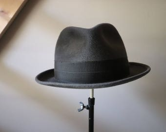 Top gray felt, quality Augusburger Homburg hat, the 30s / 40s vintage Hat