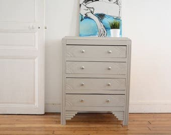 Chest Dresser painted wooden 4 drawer, furniture, recycled, upcycling