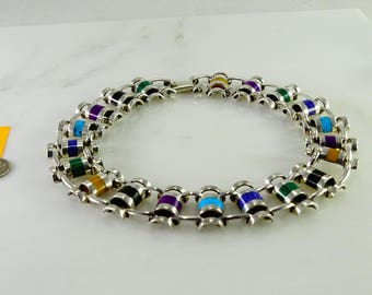 Old Mexico 950 Silver Multi Colored Insets Choker Length Necklace