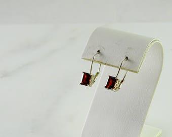 Red Stone Sterling Pierced Earrings