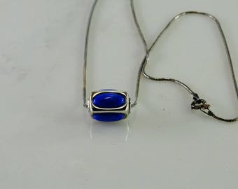"""Lapis Slide Pendant on a 16"""" Snake Chain All Sterling Silver"""