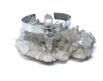 Boho Crystal Quartz and Opal Bracelet. FREE US Standard Shipping.