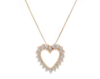 0.65 Carat Round Cut Diamond Heart Necklace 14K Yellow Gold