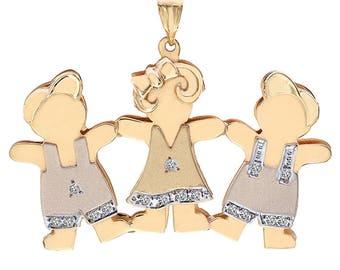 0.17 Carat Diamond Three Kids 14k Yellow Gold Charm