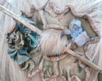 Hairdressing accessory-Barrette in wooden fimo-pic-barrette style baroque