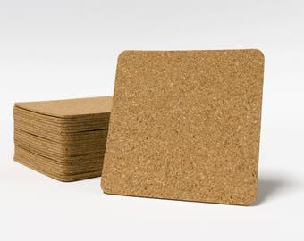 """Self Stick Cork Backing - 3.75"""" x 3.75 with rounded corners"""" -  Made for 4"""" Tile or Stone  coasters, Self Adhesive"""