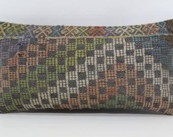 Anatolian Lumbar Kilim Pillow Sofa Pillow 10x20 Lumbar Kilim Pillow Boho Pillow Naturel Kilim Pillow Ethnic Pillow Cushion Cover  SP2550-985
