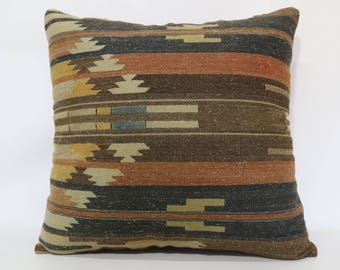 24x24 Decorative Kilim Pillow Boho Pillow Throw Pillow 24x24 Large Kilim Pillow Anatolian Kilim Pillow Ethnic Pillow Cushions SP6060-1370