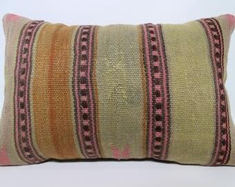 Handwoven Striped Kilim Pillow Ethnic Pillow 12x24 Bohemian Kilim Pillow Striped Kilim Pillow Naturel Kilim Pillow Cushion Cover SP4060-1036