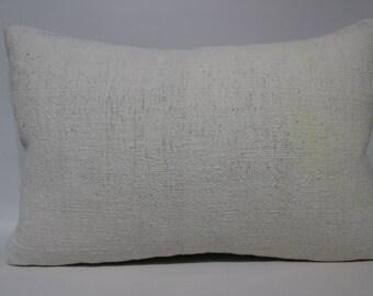 16x24 White Kilim Pillow Flat Woven Kilim Pillow Lumbar Kilim Pillow Cushions Cover Turkish Kilim Pillow Turkish Kilim Pillow  SP4060-1169