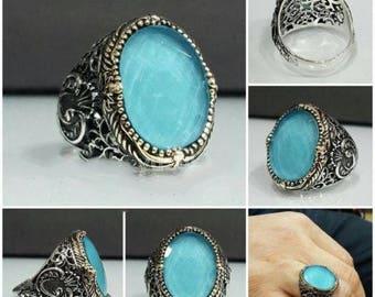 Ring ring silver Sterling 925 set stone Zircon Blue 10 g Sterling Silver Men Ring