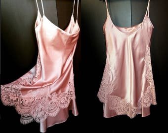 Vintage New GIANNI VERSACE Couture Dusty Rose Pink Silk Lace Dress