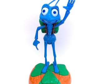 Vintage Disney Bugs Life Flik Squish Patrol Talking Guard Toy with Motion Censor Activated 90s Original Classic Pixar Movie