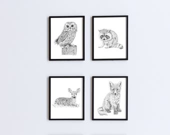 Baby Animal Art, Set of 4 Prints, Nursery Art, Baby Animal Prints, Nursery Wall Art, Animal Art Print, Baby Animal Nursery, Baby Room Decor