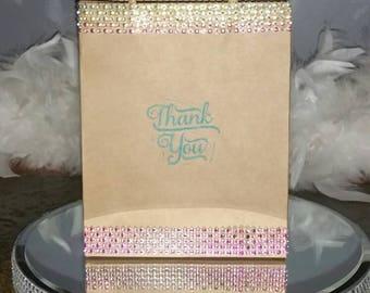 Multi Color Rhinestone Thank You Embellished Kraft Favor Bag set of 25