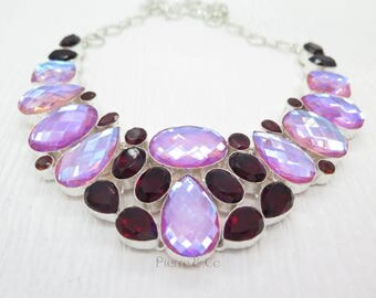 Faceted Pink Opal Quartz and Garnet Sterling Silver Necklace
