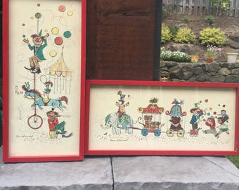 Denis Allemand Midcentury Circus Lithograph Prints by Bernard Picture Co., Inc