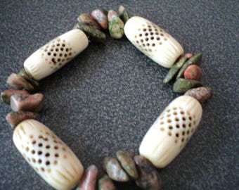 Bracelet Unikite and Bone Beads (1469)