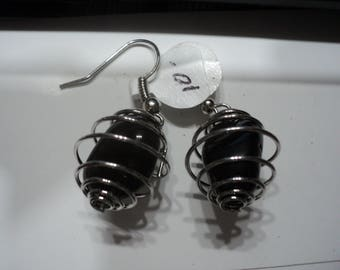 Apache Tear Earrings in Silver Tone Cage  (1138)