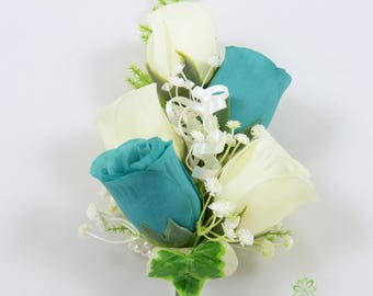Artificial Wedding Flowers, Teal & Ivory Rose Wrist Corsage