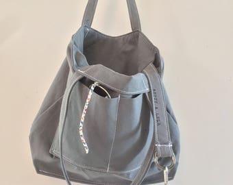 Inspiring Handmade Canvas Tote, Shoulder Bag, Double Strap Shoulder Tote Purse, Gray Bag, Pocketbook, Fabric Handbag, Key Strap