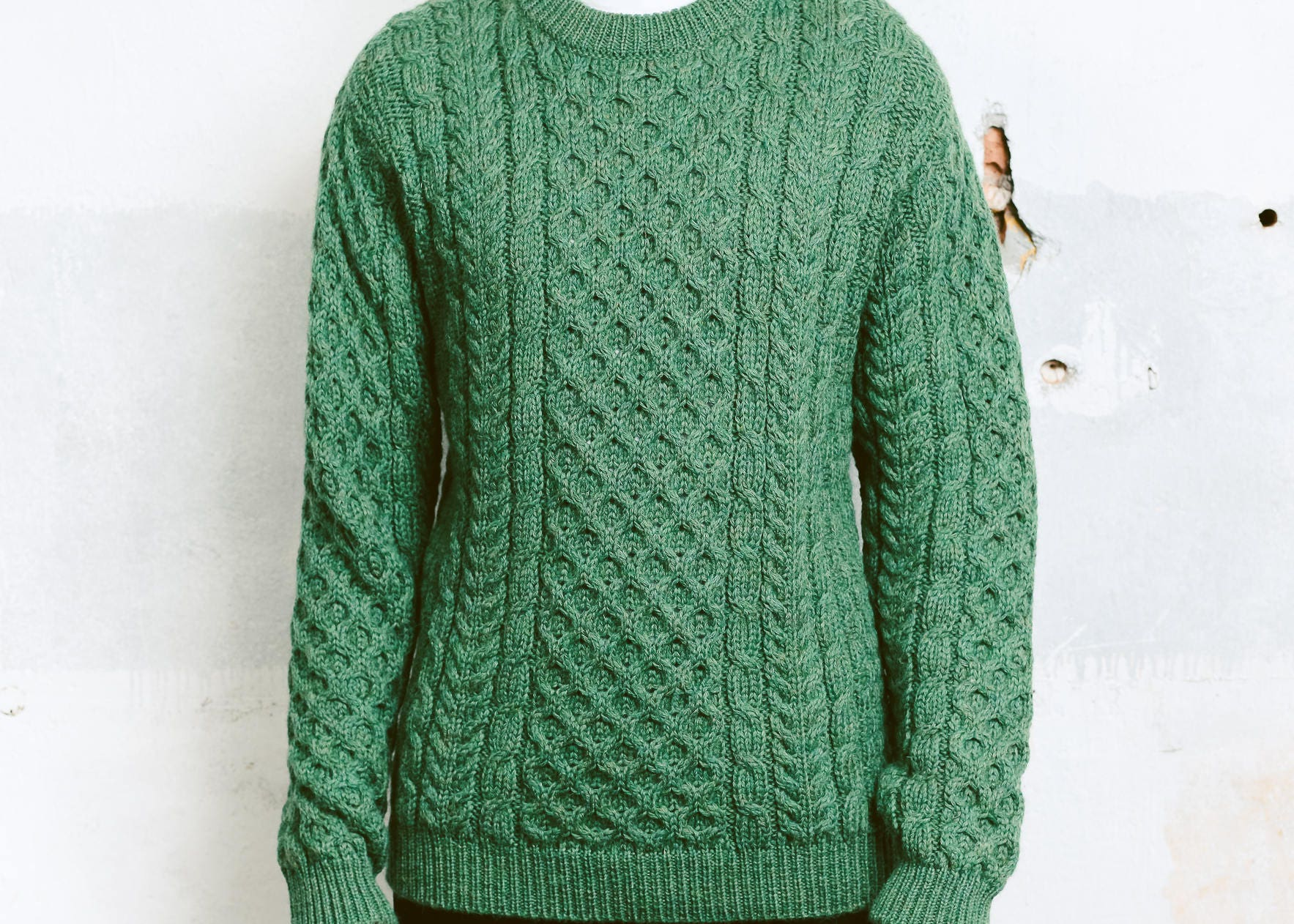 Green Cable Knit Sweater . Vintage 90s Chunky Knit Sweater Men ...