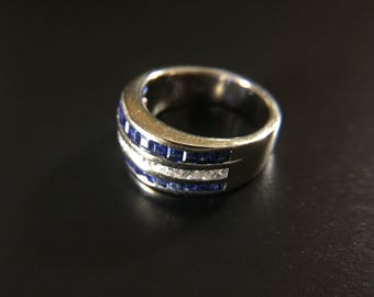 18K white gold ring with diamonds and blue sapphires, size 7, weight 7.8 grams
