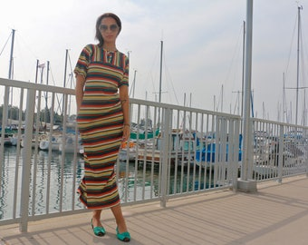 Vintage 1960s Striped Rainbow Terry Cloth Dress