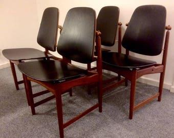 4 Danish Mid Century Arne Hovmand-Olsen Dining Chairs