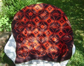 Vintage Cotton Furoshiki Large Fabric with a Orange Interlocking Circles Floral Motif/Dark Brown Background, Wall Hangings, Craft Supplies