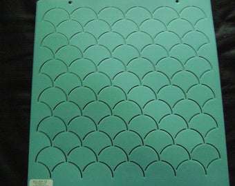 Sashiko Japanese Embroidery/Traditional Quilting Stencil 12 in. Single Clamshell 2 in. by 2 in. Motif Block/Quilting