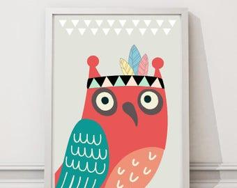 Printable Nursery Wall Art Print, Kids Art Print, Animal Nursery Print, Instant download, Owl poster, Kids room