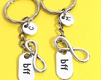 Best friends keychain - set of two, bff charm, 2 bff keychain, personalized keychain,customized keychain,monogram,initial keychain, bff gift