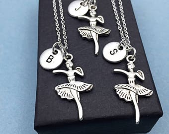 Set of 3 - 925 Sterling Silver, personalized Best friend necklace-set of 3,dancer necklaces,dancer charms,friendship,3 friends, BFF Gift