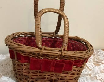 Super Cute Hand Made Woven Basket  Small Wicker purse with Red Flowered Lining and Velvet Ribbon