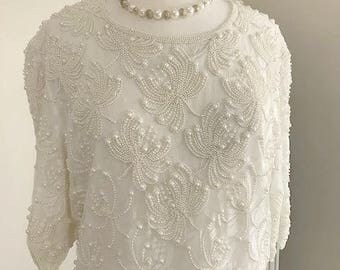 Stunning Beaded Ivory Dress by Gloria Vanderbilt Size 3X Mother of the Bride or Bride Dress