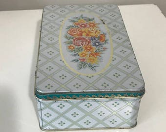 Vintage Tin Box Metal Box with Lid Attached Floral Tin Box Company Of America Made in Hong Kong