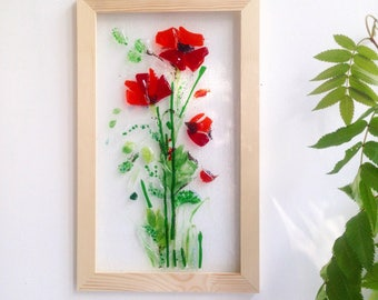 Fused glass poppies 2 - Fused glass wall art - Poppies - Picture with poppies