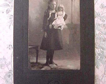 Sweet Victorian Era Photograph of Girl with Her Doll