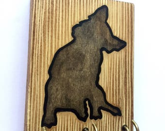 Hand Painted Rustic Leash Holder / Key Hanger. Grey Tilted Head Pup- A fun and functional gift for dog lovers!
