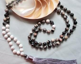 Silver-leaf gemstone mala necklace