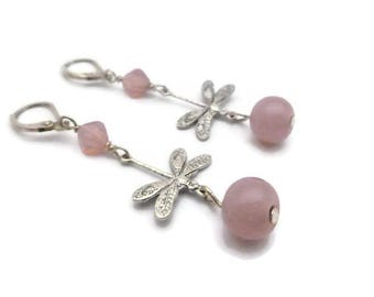 Dragonfly earrings and pink glass beads
