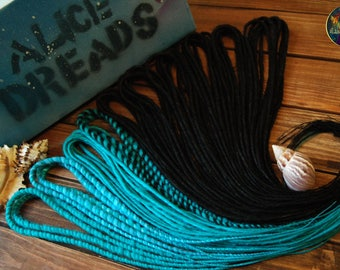 """Set of ombre DE dreads. Collection """"Sea"""". For black blue turquoise hair accessories extensions double ended dreadlocks"""