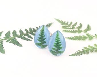 Fern earrings, Christmas earrings, Gift under 30, Small gift for niece, Real fern pressed, Little Christmas tree earrings, Stocking filler