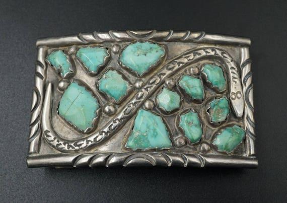 Vtg Signed Zuni Wayne C Cheama Sterling Silver Snake Turquoise Belt Buckle M452